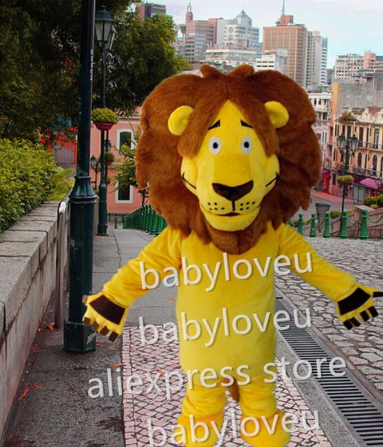 High Quality wildcat yellow lion king mascot fursuit pa Mascot Costume Carnival fancy Dress Adult Size Free Shipping pw