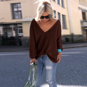2019 New Plus Size Autumn Winter Knitting Casual Long Sleeve Solid Colors Sweater Loose Female Sweaters Fashion Women Clothing 5
