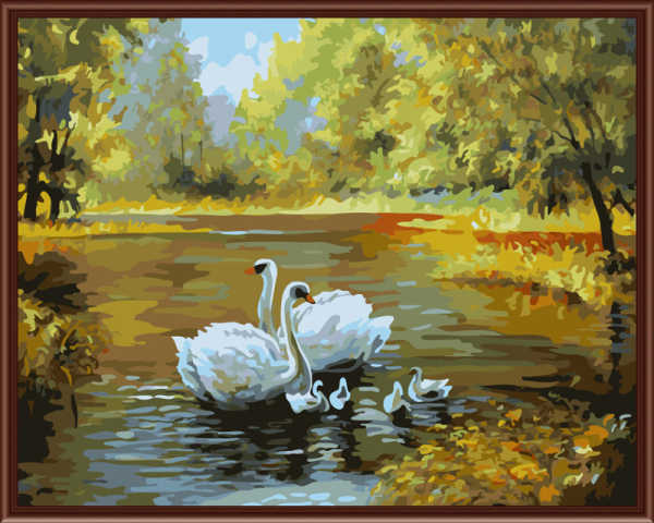 Frameless Digital Oil Painting By Numbers Swan Pictures Paiting On Canvas DIY Home Decoration Wall Decor Home Decor G312