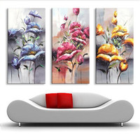 Hand Painted Modern Abstract Flowers Oil Painting Knife Pallete Gold Red Floral Paintings on Canvas 3 Panel Pictures Wall Arts