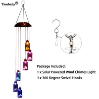 Tanbaby Waterproof IP65 6Leds Multicolor Hanging Bottle Wind Chimes Solar LED Light For Window Party Night