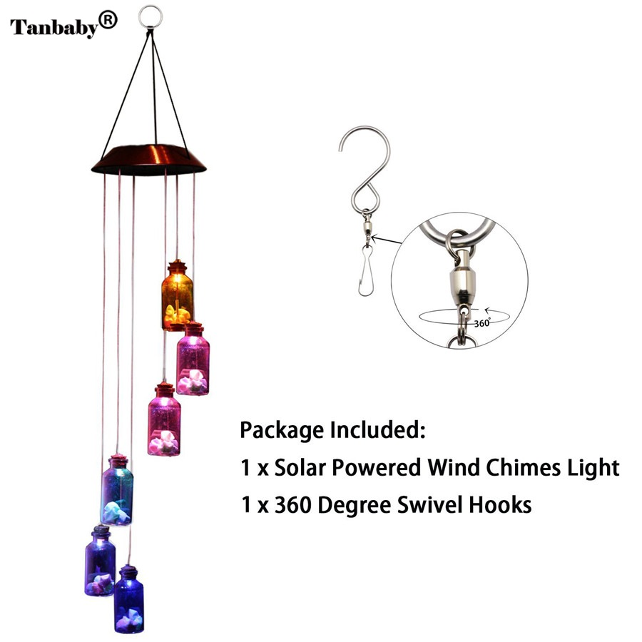 Tanbaby Waterproof IP65 6Leds Multicolor Hanging Bottle Wind Chimes Solar LED <font><b>Light</b></font> For Window/ Party/ Night Garden Decoration