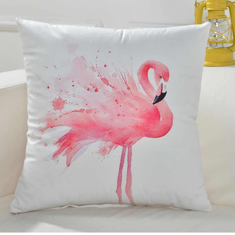 Europa Flamingo wzór Nordic Decroative rzuć poszewka na poduszkę kwadratowy 45x45 cm powrót poszewka na sofy życia na świeżym powietrzu pokój