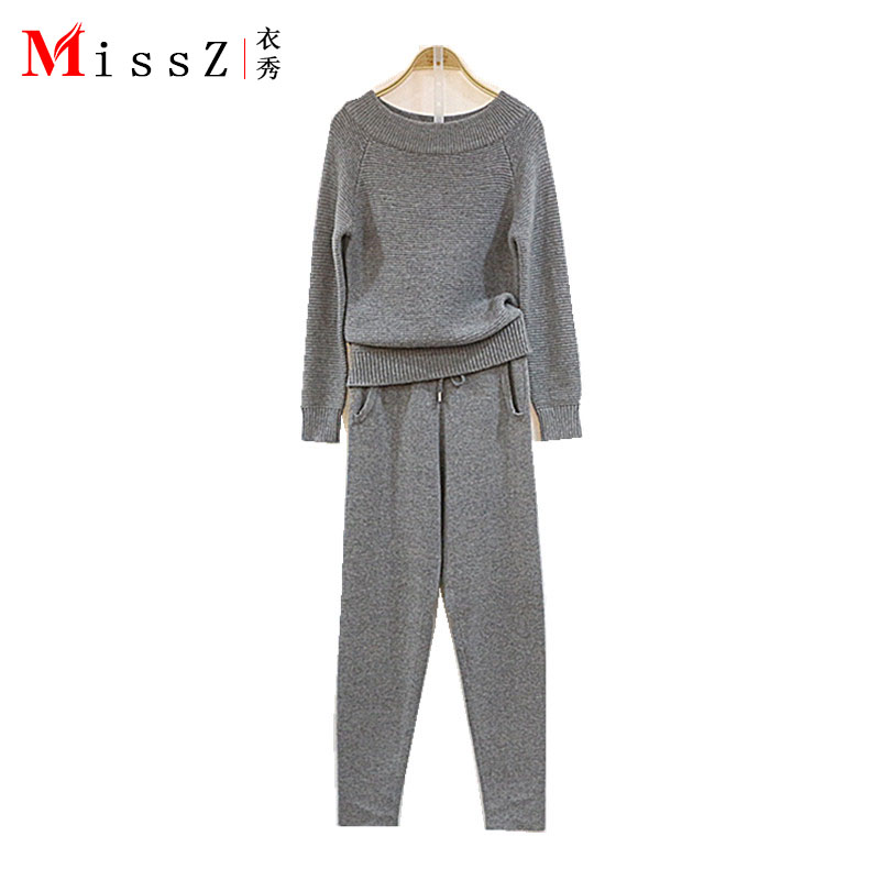 2017 New Fashion Cashmere Knitting Suits 2 Pieces Elegant A Word Get Long Sleeve Sable Fluffy Coat Two piece Pants Women Sets
