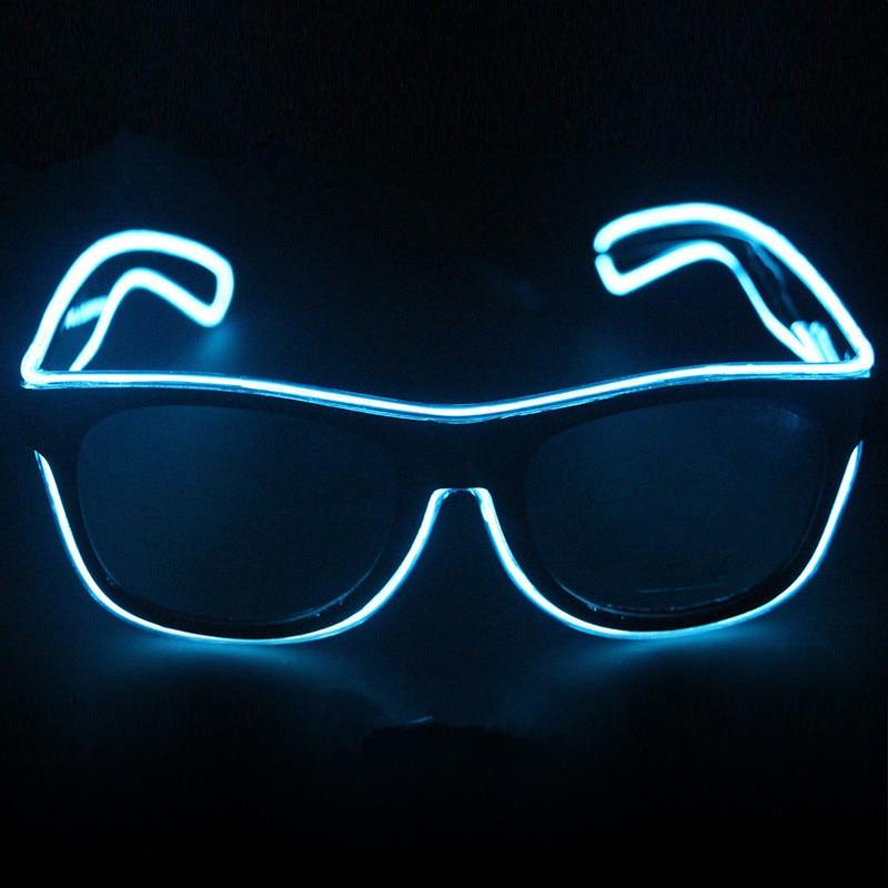 Blue el glasses El Wire Fashion Neon LED Light Up Shutter Shaped ...