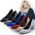 2016 Moda sapatos de Salto Alto Mulheres Sapatos Bombas Dedo Do Pé Pontudos Sapatos de Sola Vermelha Mulher Gradiente Marca Zapatos Mujer