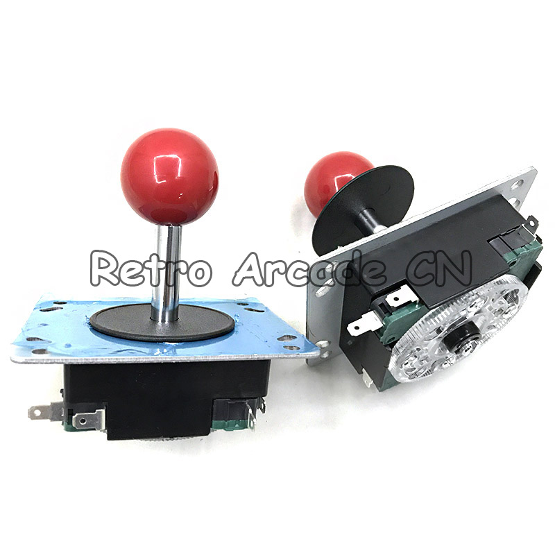 Top Classic American 8 Way Arcade Game Joystick Ball Joy Stick Red Ball Replacement Uses For 4 Microswitches Game Machine Parts
