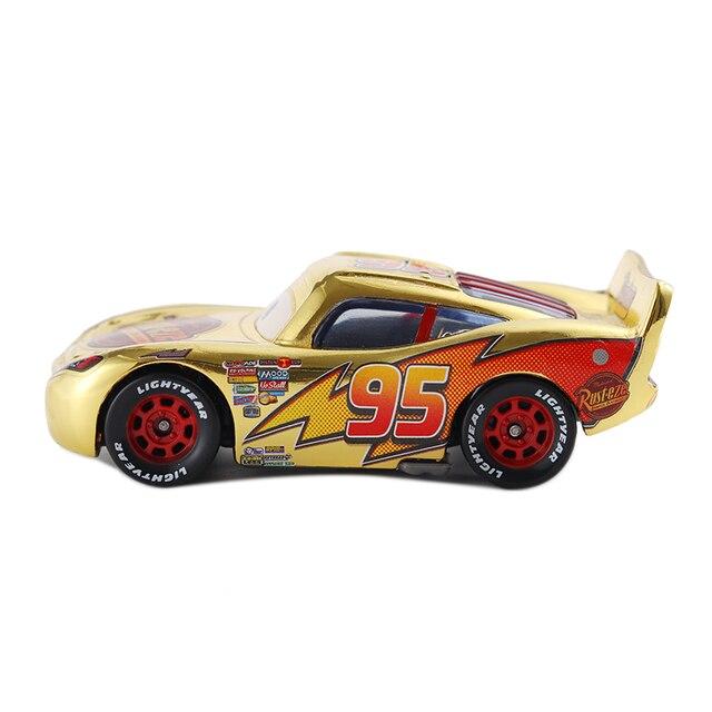 Cars 3 Disney Pixar Cars Metallic Finish Gold Chrome McQueen Metal Diecast Toy Car Lightning McQueen Children's Gift 3