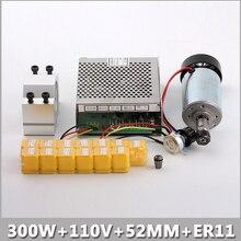 ЧПУ Шпинделя 300 Вт С Воздушным Охлаждением Фрезерные и Шпиндель 0.3kw скорость Преобразователь Питания и 52 мм Зажим и 13 шт. ER11 Цанги Для гравировка.