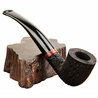 Wooden Pipes for Smoking Weed Briar Wood Bent Type Pipe Carving Pipes Smoke Tobacco Cigarettes Filter Dismountable Handle Pipe
