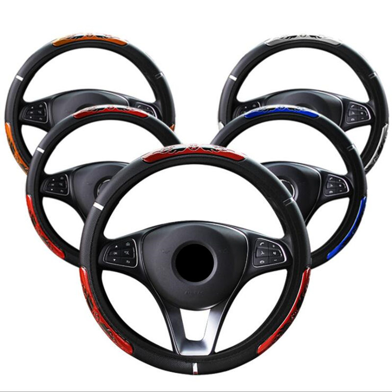 38CM Auto Car Steering Wheel Cover Anti-catch Holder Protector China football Design Flame Sports Style Car Interior Accessories