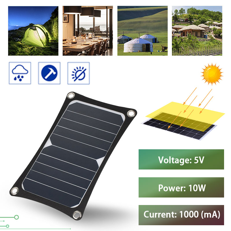 Sunpower <font><b>5V</b></font> <font><b>10W</b></font> <font><b>Solar</b></font> <font><b>Panel</b></font> 1000mAh <font><b>Solar</b></font> Cells Charger <font><b>5V</b></font> 2A USB Output Fast Charging High Conversion for Outdoor Sports image
