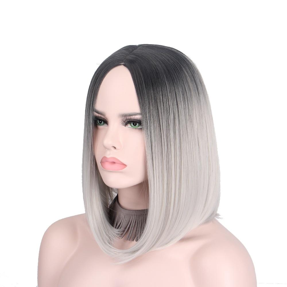 Kurze Grau Perucke Silber Haare Ombre Cosplay Perucken Fur Frauen