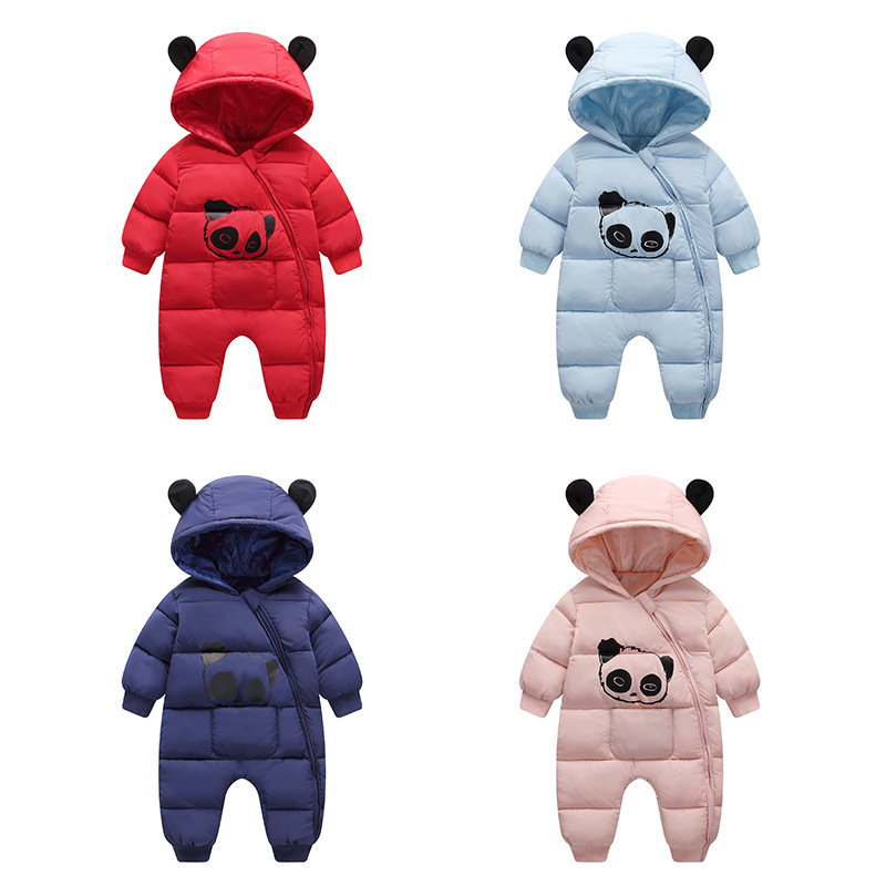 2018 Winter Baby Boy Girls Clothes New Born Hooded Rompers Toddlers Thick Cotton Outfits Newborn Jumpsuit Children Costume G158