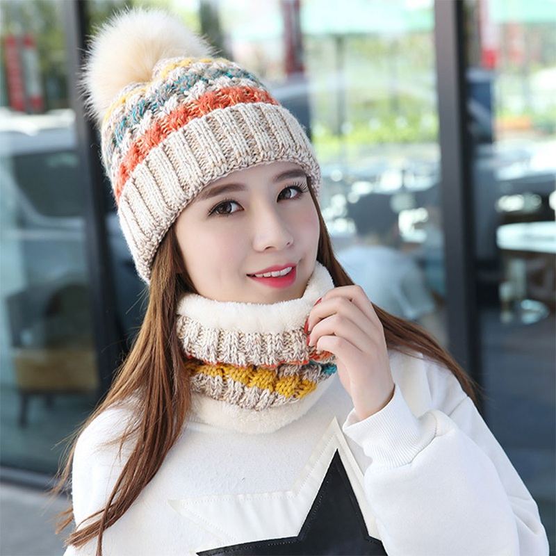 Winter New Knitted Adult's Cotton Hats Scarf Sets Boy And Girl Warm  Caps Winter Hot Selling Hats Scarf Sets