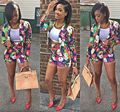 Crop Top and Shorts Sets 2015 Summer Style Women Floral Printed Suits Casual V Neck Long Sleeve Party 2 Piece Shorts