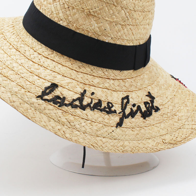 5e901ed2a58 Summer Women Sun Hat Ladies Wide Brim Ladybird Letter Straw Hats Outdoor Beach  Panama Hats Church Caps Chapeu Feminino