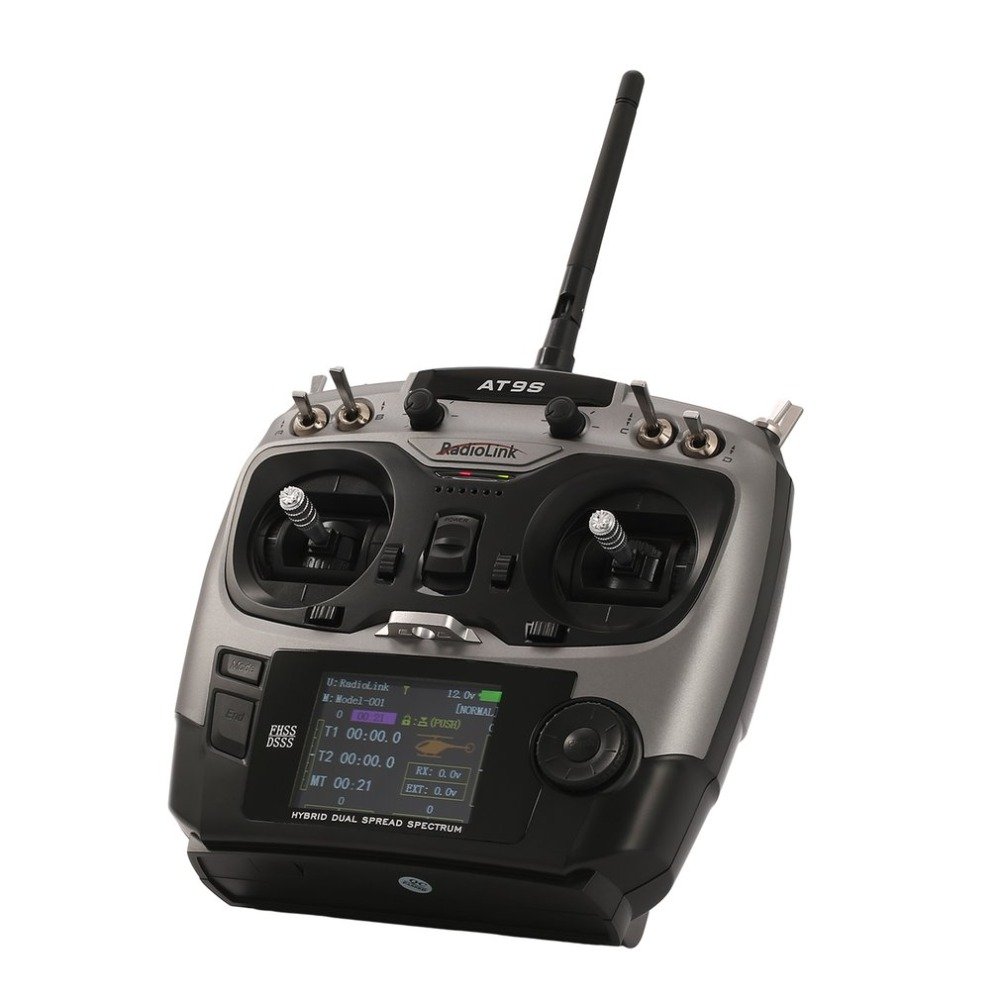 Upgrade Radiolink AT9S 2.4G 10CH Transmitter Radio with R9DS Receiver DSSS FHSS for RC Helicopter Drone Fixed-wing Mode 2 upgraded radiolink r9ds 2 4ghz 9ch dsss receiver