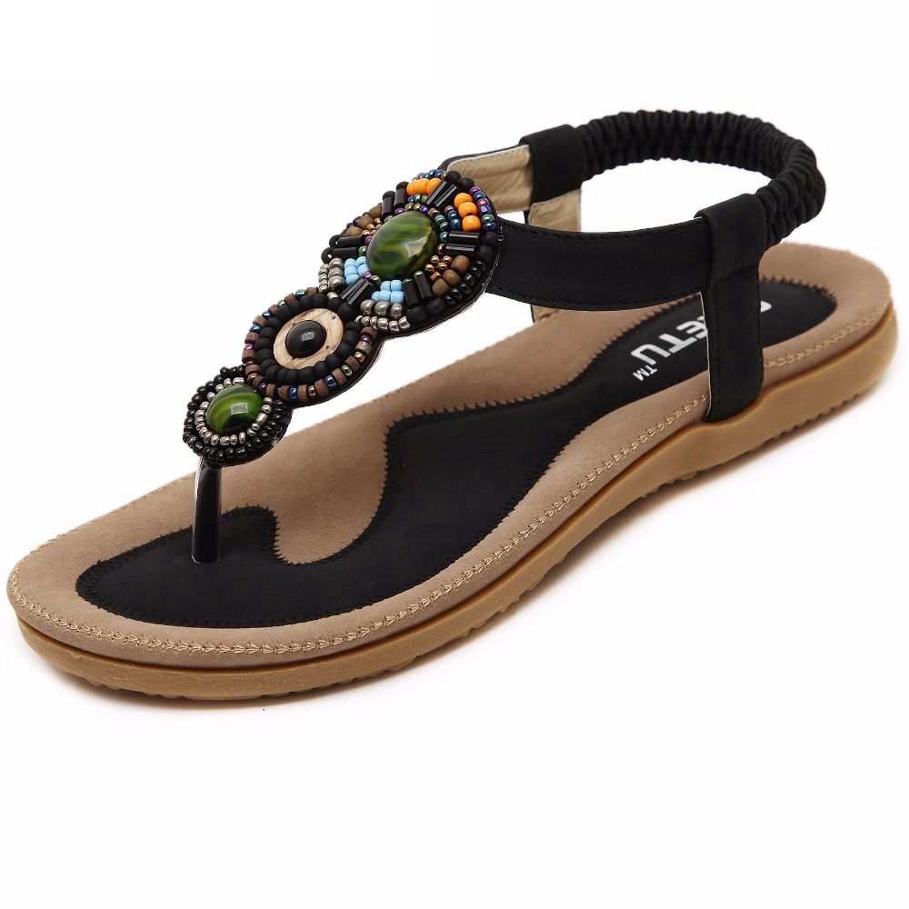 Bohemian Clip Toe Women Sandals 2019 Women Summer Beach Sandals Gemstone Beaded Slippers Large size Ladies Flat Sandals 35 42 in Women 39 s Sandals from Shoes
