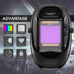 YESWELDER Grote Scherm Ware Kleur Lashelm 4 Arc Sensor Solar Lassen Masker Auto Verduistering Lasser Kap LYG-M800H