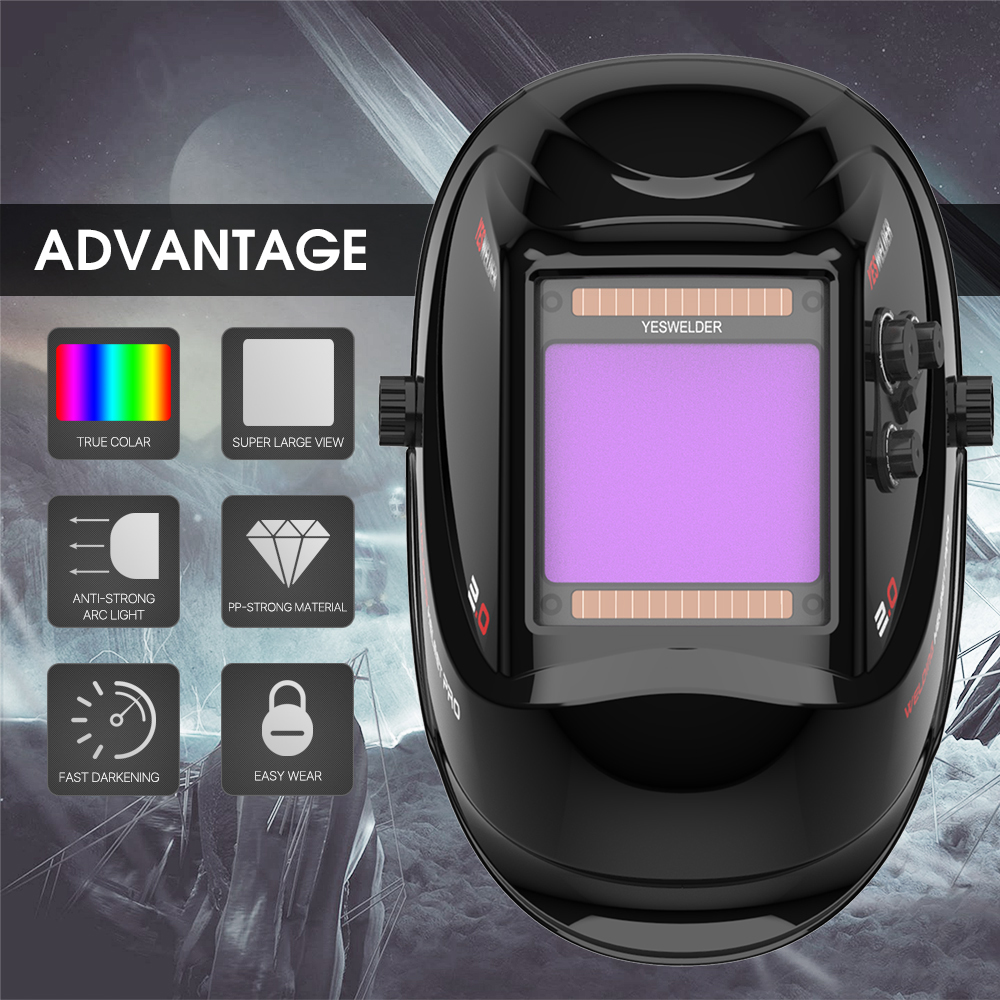 YESWELDER Large Screen True Color Welding Helmet 2-4 Arc Sensor Solar Welding Mask Auto Darkening Welder Hood LYG-M800H