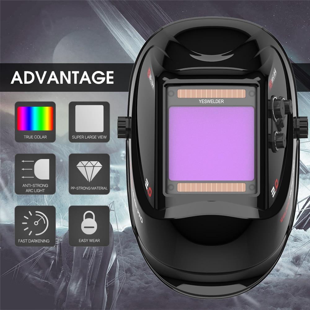 YESWELDER Large Screen True Color Welding Helmet 2-4 Arc Sensor Solar Welding Mask Auto Darkening Welder Hood LYG-M800H