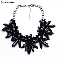 XG172 New Design 2015 High Quality Chunky Necklaces Pendants Pure Color Crystal Flower Statement Necklace Acrylic