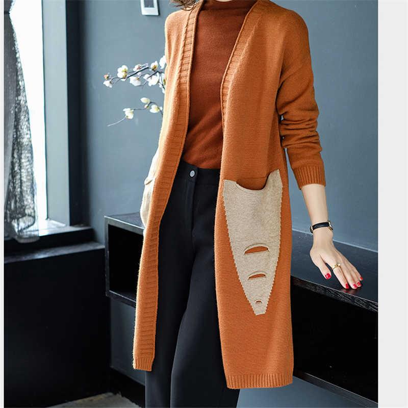 Áo len Nữ Thu Xuân Nữ New 2019 Hàn Quốc Rời màu phần dài Áo Len Dài tay kết W097