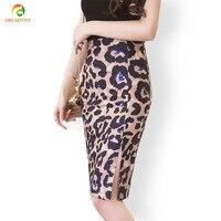 Pencil Skirt Women Leopard Skirt High Waist 2017 Spring Summer Split Package Hip Knee Length Fit