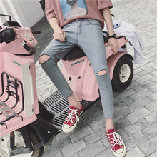 Top quality 2019 Spring summer Casual Solid thin knee hole broken jeans male students teenagers feet pencil Ankle length pants