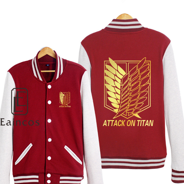 Attack on Titan Shingeki no Kyojin Scout Legion Golden Print Baseball Uniform Cosplay Costumes Jackets