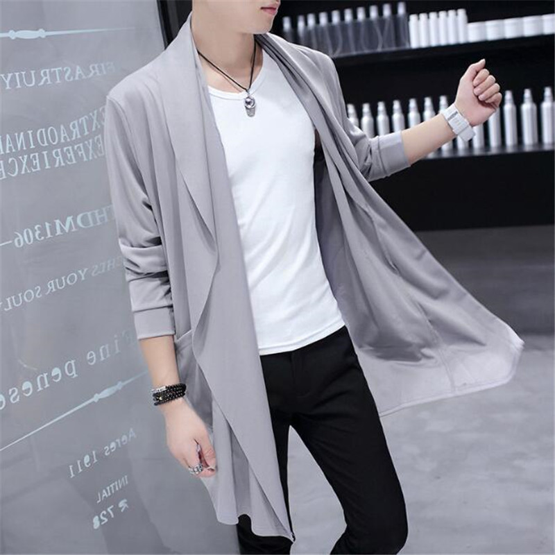 50pcs Korean Men Mid-long Style   Trench   Windbreaker Ultra Thin Large Neckline Fashion Outwear Cloak Sunscreen&Windproof Overcoat