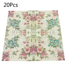 Disposable Paper Napkins Tableware Supply Printed Square Tissue flower Pattern Party Festive Celebration 20 Pieces