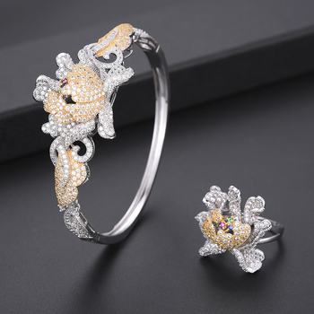4 PCS Luxury Chrysanthemum Cubic Zirconia Nigerian dubai wedding jewelry sets Necklace Earrings Bracelet Ring jewelry For Women 4