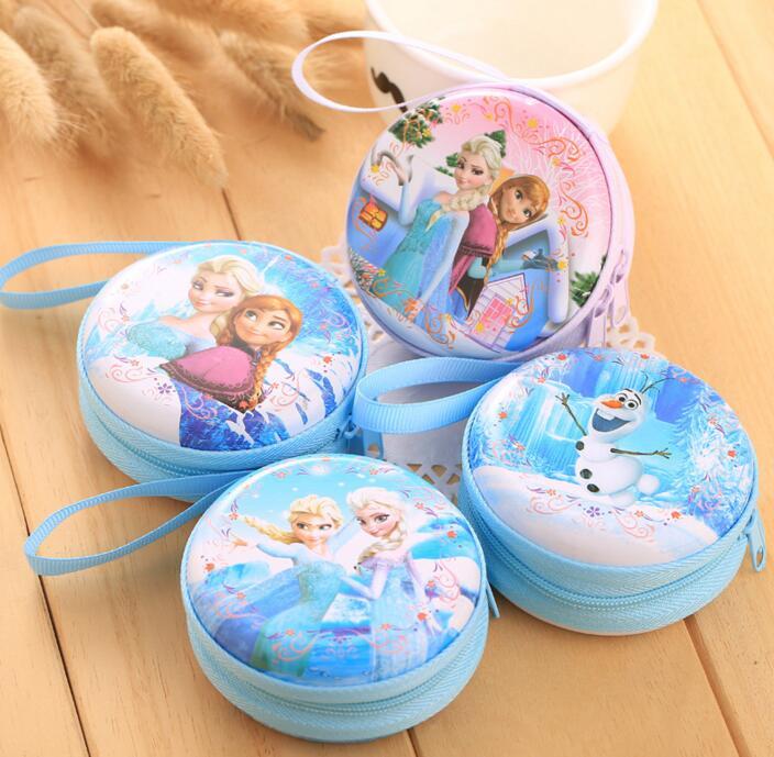 цена на hot sale cartoon coin purse Elsa Anna princess girls key case wallet children snow queen headset bag coin bag