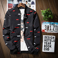 Hot Mens Jacket Thin Slim Long Sleeve  Red White Plaid Spring Baseball Jackets 2017 Korean Style Army Brand Clothing Bomber