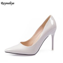 9 CM New Elegant Woman Plus Size 33-43 Pumps White Comfort Super High Heels Pointed Toe Pumps Ladies Wedding Shoes XZL-B0001(China)