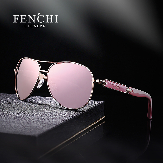 FENCHI Pink Polarized Mirror Glasses