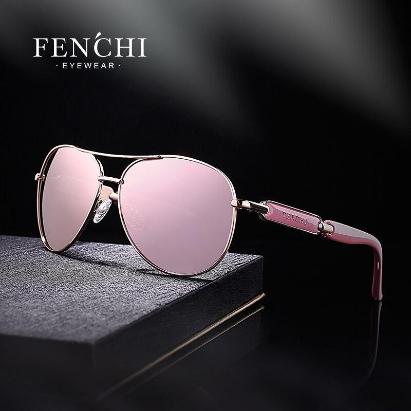 Fenchi rosa óculos de sol feminino espelho polarizado óculos de sol moda feminina marca designer lunettes de soleil femme оfemme femme и