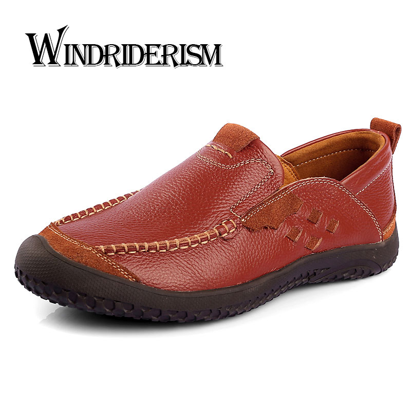 New Men Flats Shoes Genuine Leather Slip On Casual Shoes Spring Autumn Driving Shoes Oxfords Zapatos Hombres Pisos Para Hombres