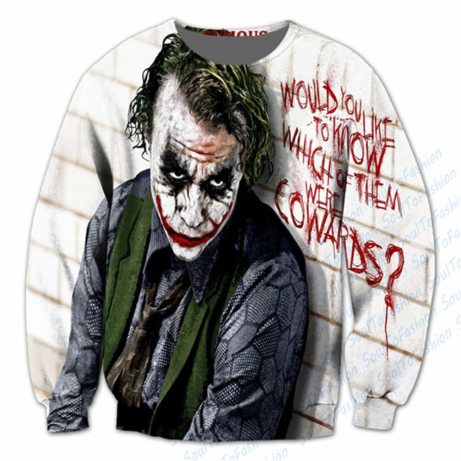 Real AMERICAN US Size 3D Sublimation print Joker - Why so Serious Crewneck Sweatshirt plus size Custom made clothing