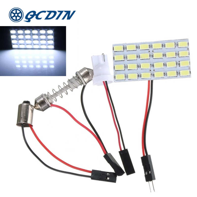 Qcdin T10 Dihiasi Adaptor BA9S 5730 Light Dome LED 480LM 3W 6000-6500K Warna Suhu Pin adaptor 24 Chip Q'ty