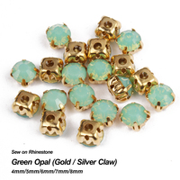 Sew On Rhinestone Green Opal Gold Claw Base Strass 4mm 5mm 6mm 7mm Use For DIY