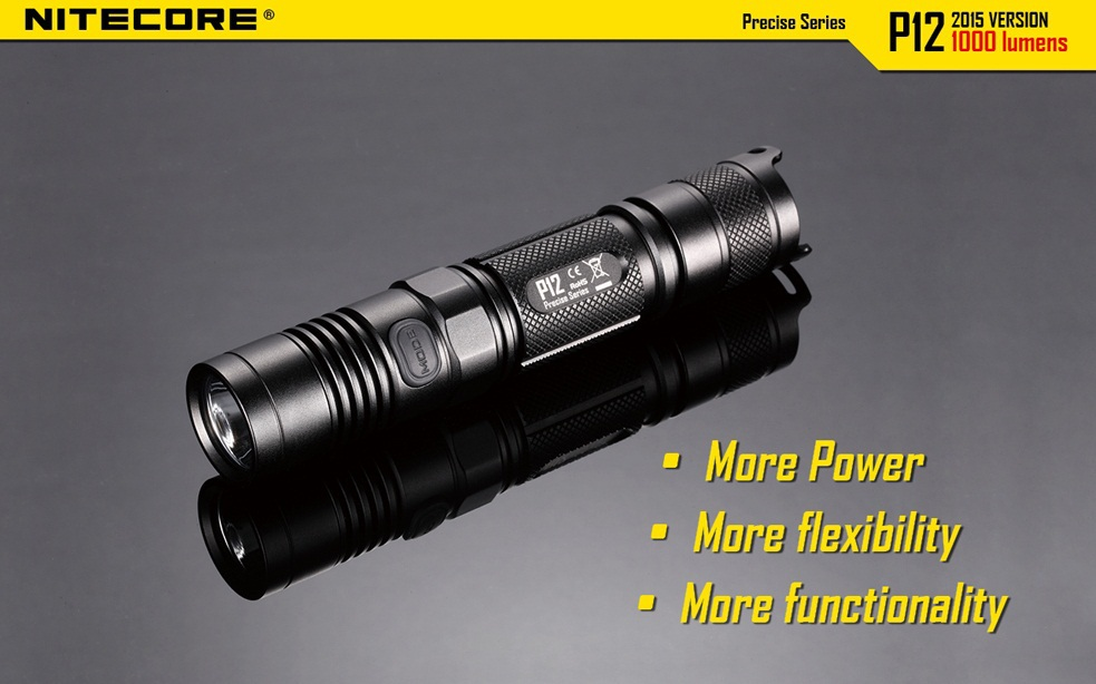 Nitecore P12 Cree XM L2 U2 LED 1000LM LED Flashlight use 18650 or CR123 Battery Torch Free Shipping