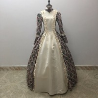 Print Medieval Queen Renaissance Wench Velvet Floral Brocade Ball Gown Dress Reenactment Halloween Costume