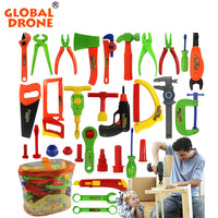 Global Drone Pretend Play 32 project Repair Tools Toy Set Plastic Classic Gardening Tool Toy Instruments Toy Kit Tools for Kids