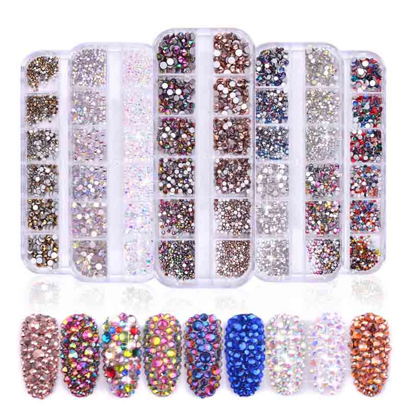 1Box  12 ColorCrystal Gallet Rhinestones For Nails Jewelry Gems Nail Art Decoration Studs Rhinestone Beads Nail Accessories Tool