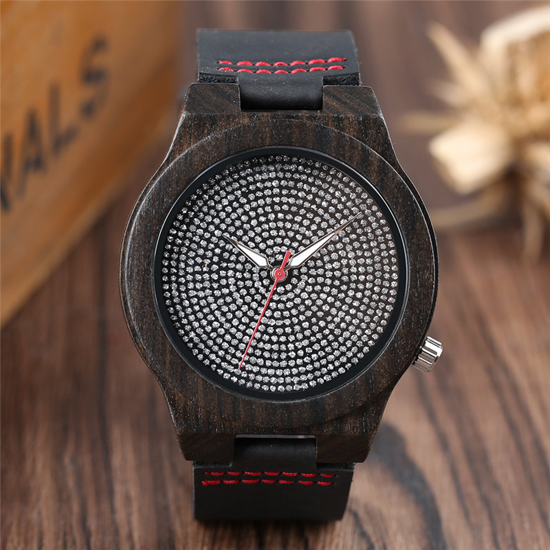 High Quality Hand-made Sandalwood Nature Design  Men's Quartz Wristwatch Black Genuine Leather Band Rhinestones Dial Women Watch simple fashion hand made wooden design wristwatch 2 colors rectangle dial genuine leather band casual men women watch best gift