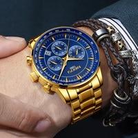 NIBOSI Men's Watch 2018 Luxury Blue Stainless Steel Man Watch With Calendar Gold Watch Men Big Dial Watches Men Luxury Brand