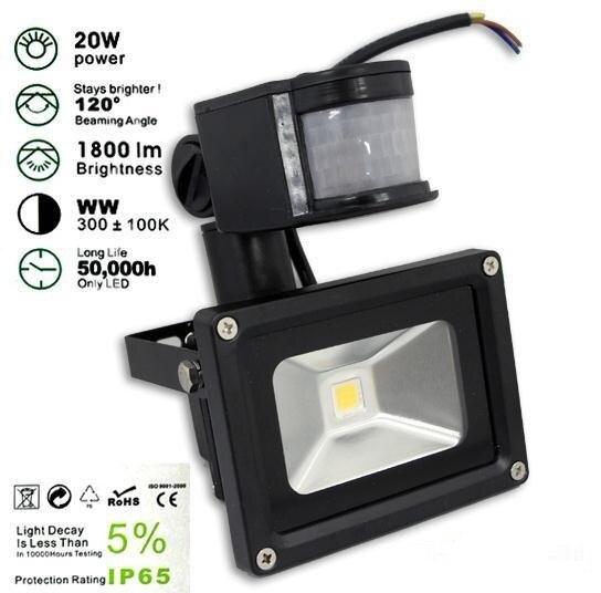 20W PIR LED Flood lights Motion Sensor Floodlight Garden Light Water Proof AC85-256V Power saving Factory Direct Free Shipping
